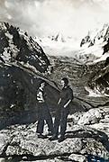 La Tour Ronde posing with the glacier de la Brenva in the Alps 1934