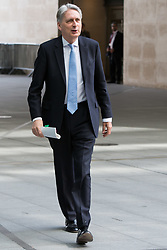© Licensed to London News Pictures. 26/05/2019. London, UK. Chancellor PHILIP HAMMOND is seen arriving at BBC Broadcasting Houses in London. A number of Conservative MPs have entered the race to be the new leader of the party. Photo credit: George Cracknell Wright/LNP