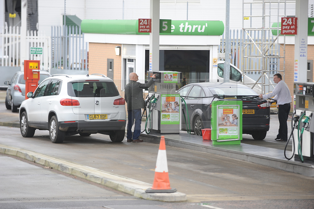 © Licensed to London News Pictures. 18/12/2014 <br /> Unleaded down to £1.10 a Litre at Asda petrol station Greenhithe,Kent  (today 18.12.2014).<br /> Petrol could soon sell for below £1 a litre thanks to the plummeting price of oil, motoring organisation the RAC has predicted.<br /> <br /> (Byline:Grant Falvey/LNP)