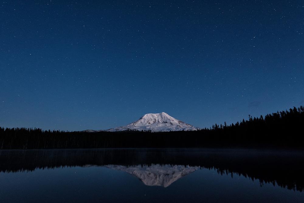 Mt Adams and stars as seen from Takhlakh Lake, Washington