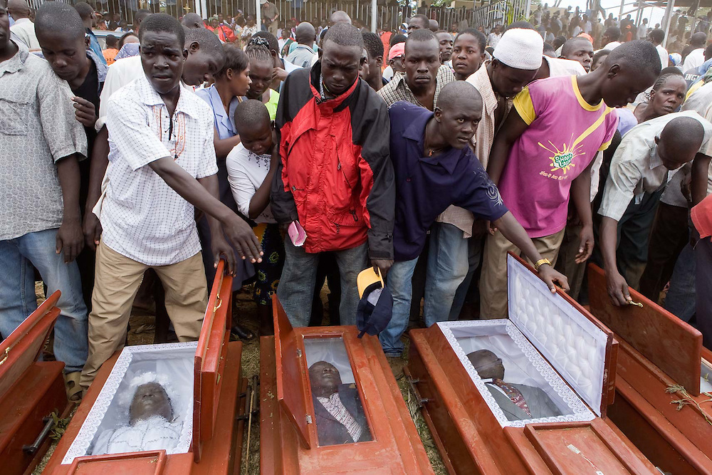Coffins laid out at the rally for peace, Kisumu, Kenya.