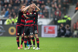 16.04.2016, BayArena, Leverkusen, GER, 1. FBL, Bayer 04 Leverkusen vs Eintracht Frankfurt, 30. Runde, im Bild Benjamin Henrichs (Bayer 04 Leverkusen #39), Kevin Kampl (Bayer Leverkusen #44) und Christoph Kramer (Bayer 04 Leverkusen #23) beim Torjubel nach dem Treffer zum 1:0 // during the German Bundesliga 30th round match between Bayer 04 Leverkusen and Eintracht Frankfurt at the BayArena in Leverkusen, Germany on 2016/04/16. EXPA Pictures © 2016, PhotoCredit: EXPA/ Eibner-Pressefoto/ Schüler<br /> <br /> *****ATTENTION - OUT of GER*****