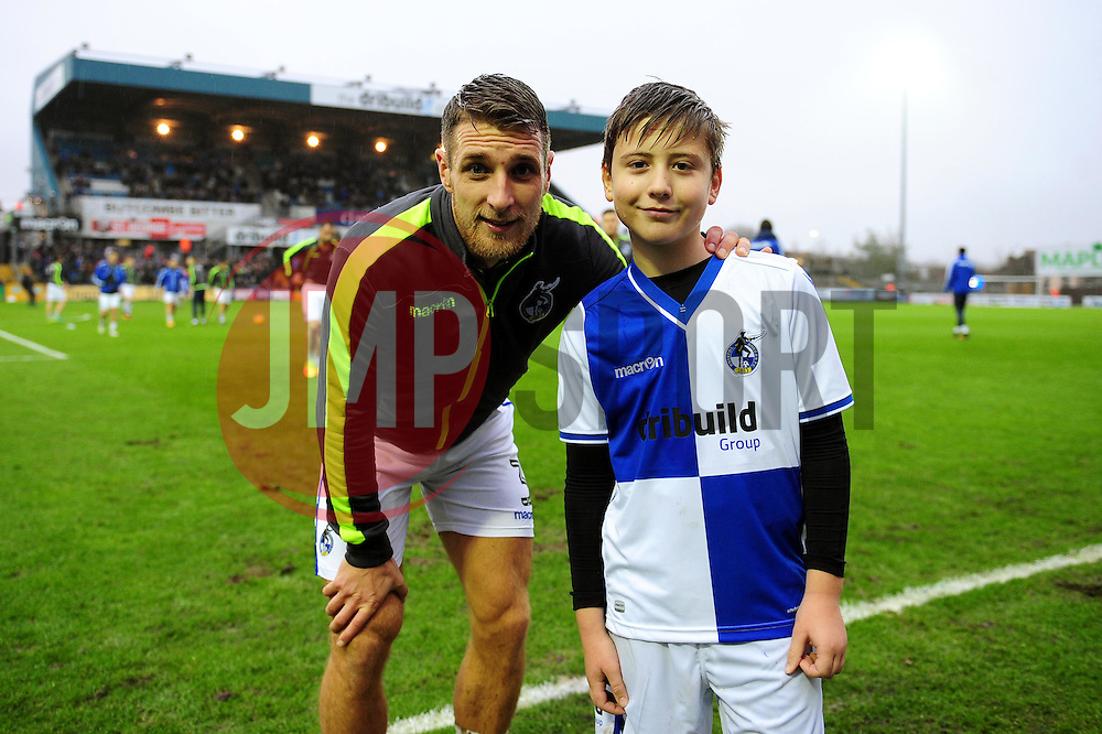 Mascot with Lee Brown of Bristol Rovers - Mandatory by-line: Dougie Allward/JMP - 10/12/2016 - FOOTBALL - Memorial Stadium - Bristol, England - Bristol Rovers v Bury - Sky Bet League One