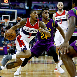 Jan 29, 2017; New Orleans, LA, USA; Washington Wizards guard Bradley Beal (3) drives past New Orleans Pelicans guard Buddy Hield (24) during the first quarter of a game at the Smoothie King Center. Mandatory Credit: Derick E. Hingle-USA TODAY Sports