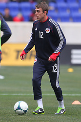 Mar 16, 2013; Harrison, NJ, USA; New York Red Bulls midfielder Eric Alexander (12) during the pre game warmups for their game against DC United at Red Bull Arena.