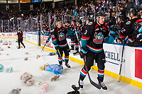KELOWNA, CANADA - DECEMBER 1:  Dalton Gally #3 and Conner Bruggen-Cate #20 of the Kelowna Rockets celebrate a goal at the annual teddy bear toss against the Saskatoon Blades on December 1, 2018 at Prospera Place in Kelowna, British Columbia, Canada.  (Photo by Marissa Baecker/Shoot the Breeze)