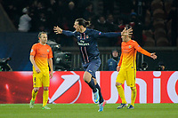 FOOTBALL - UEFA CHAMPIONS LEAGUE 2012/2013 - 1/4 FINAL - 1ST LEG - PARIS SAINT GERMAIN v FC BARCELONA - 2/04/2013 - PHOTO JEAN MARIE HERVIO / REGAMEDIA / DPPI - JOY ZLATAN IBRAHIMOVIC (PSG) AFTER HIS GOAL