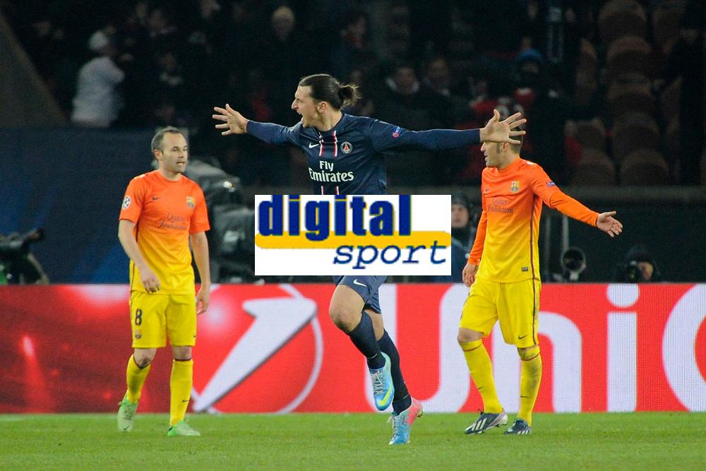 FOOTBALL - UEFA CHAMPIONS LEAGUE 2012/2013 - 1/4 FINAL - 1ST LEG - PARIS SAINT GERMAIN v FC BARCELONA - 2/04/2013 - PHOTO JEAN MARIE HERVIO / REGAMEDIA / DPPI - JOY ZLATAN IBRAHIMOVIC (PSG) AFTER HIS GOAL