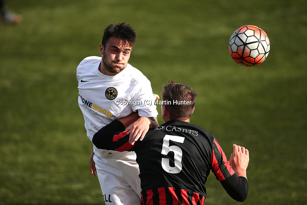 Matthew Wiesenfarth of Canterbury United (R) battles with Tom Jackson of Team Wellington (L) during the Stirling Sports Premiership match between Canterbury United and Team Wellington at English Park, Christchurch, New Zealand. Sunday 19 March 2017. ©Copyright Photo: Martin Hunter / www.photosport.nz