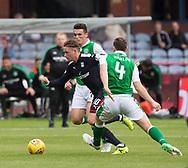 27th August 2017, Dens Park, Dundee, Dundee; Scottish Premier League football, Dundee versus Hibernian; Dundee's Scott Allan races past Hibernian's Paul Hanlon and John McGinn
