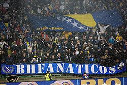 Fans of Bosnia-Hercegovina  during friendly football match between National teams of Slovenia and Bosna and Herzegovina, on February 6, 2013 in SRC Stozice, Ljubljana, Slovenia. (Photo By Matic Klansek Velej / Sportida.com)