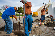 "07 JANUARY 2007 - MANAGUA, NICARAGUA: Men work on the inaugural stage for incoming Nicaraguan president, Daniel Ortega, of the Sandanista party. The Sandanistas won the November election and took power in January, 17 years after they were swept from power by the UNO opposition coalition headed by Violetta Chamorro. The Sandanistas ruled Nicaragua from 1979 to 1990 after they defeated the Somoza government. Their tenure was marked by advances in education and health care, but also by a war against the ""Contras"" an anti-Sandanista army organized and funded by the Reagan administration.   Photo by Jack Kurtz"