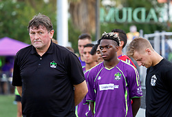 12 July 2016. New Orleans, Louisiana.<br /> NPSL Soccer, Pan American Stadium.<br /> Head coach Kenny Farrell before kick off with his New Orleans Jesters v UANL Tigres from Monterrey, Mexico. <br /> Jesters draw 1-1 at full time, going on to lose the penalty shoot out.<br /> Photo; Charlie Varley/varleypix.com