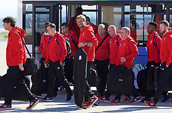 LIVERPOOL, ENGLAND - Monday, May 16, 2016: Liverpool's manager Jürgen Klopp and the squad board their plane to Basel as they fly out of Liverpool John Lennon Airport to Switzerland ahead of the UEFA Europa League Final against Sevilla FC. (Pic by David Rawcliffe/Propaganda)