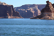 Lake Powell, located in northern Arizona and southern Utah, is a man made reservoir.<br />