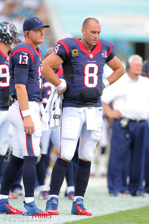 Houston Texans quarterback T.J. Yates (13) and quarterback Matt Schaub (8) on the sideline during the NFL game between the Texans and the Jacksonville Jaguars, at EverBank Field on September 16, 2012 in Jacksonville, Florida. The Texans won 27-7...©2012 Scott A. Miller.