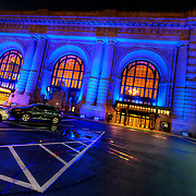 Kansas City's Union Station lit in Royal Blue for the Kansas City Royals in the 2014 Major League Baseball World Series.