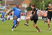 Bayo Akinfenwa forward for AFC Wimbledon (10) in action during Sky Bet League 2 match between AFC Wimbledon and Newport County at the Cherry Red Records Stadium, Kingston, England on 7 May 2016. Photo by Stuart Butcher.