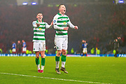 Ryan Christie & Callum McGregor of Celtic FC celebrate in front of his fans during the Betfred Scottish League Cup Final match between Rangers and Celtic at Hampden Park, Glasgow, United Kingdom on 8 December 2019.