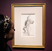 Bill Viola / Michelangelo: Life, Death, Rebirth exhibition opening - Works by Michelangelo ((1475 -1564) and pioneering video artist Bill Viola (b. 1951) at the Royal Academy of Arts, London, Great Britain  <br /> Press view <br /> 22nd January 2019<br /> <br /> Michelangelo Buonarroti (Caprese 1475-Rome 1564) - The Risen Christ<br />  <br /> Though working five centuries apart and in radically different media, these artists are both concerned with exploring the cycle of life.<br />  <br /> Bill Viola / Michelangelo: Life, Death, Rebirth is a unique opportunity to see major works from Viola&rsquo;s long career and some of the greatest drawings ever created by Michelangelo, together for the first time. It will be the first exhibition at the Royal Academy largely devoted to video art.<br />  <br /> Bill Viola / Michelangelo : Life, Death, Rebirth, Royal Academy of Arts, London runs from 26 January - 31 March 2019<br /> <br /> Photograph by Elliott Franks