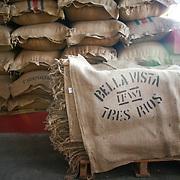 Sacks of coffee rest in the processing facility of the Bella Vista coffee farm in Costa Rica. (Joshua Trujillo, Starbucks)