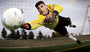 MCCHORD AIR FORCE BASE, Wash. -- 1st Lt. Richard Cullen plays goal keeper with the the Seattle Sounders, a Colorado Springs Premier Development Soccer League. Stationed here as acommunications officer, his assignmeent keeps him hopping at both the wing headquarters and at Seattle Memorial Stadium..(U.S. Air Force photo by Master Sgt. Lance Cheung)