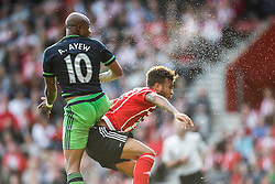 Swansea City's Andre Ayew and Southampton's Ryan Bertrand - Mandatory by-line: Jason Brown/JMP - 07966 386802 - 26/09/2015 - FOOTBALL - Southampton, St Mary's Stadium - Southampton v Swansea City - Barclays Premier League