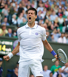 25.06.2011, Wimbledon, London, GBR, Wimbledon Tennis Championships, im Bild Saturday, June 25, 2011: Novak Djokovic (SRB) celebrates winning the Gentlemen's Singles 3rd Round match on day six of the Wimbledon Lawn Tennis Championships at the All England Lawn Tennis and Croquet Club, EXPA Pictures © 2011, PhotoCredit: EXPA/ Propaganda/ *** ATTENTION *** UK OUT!