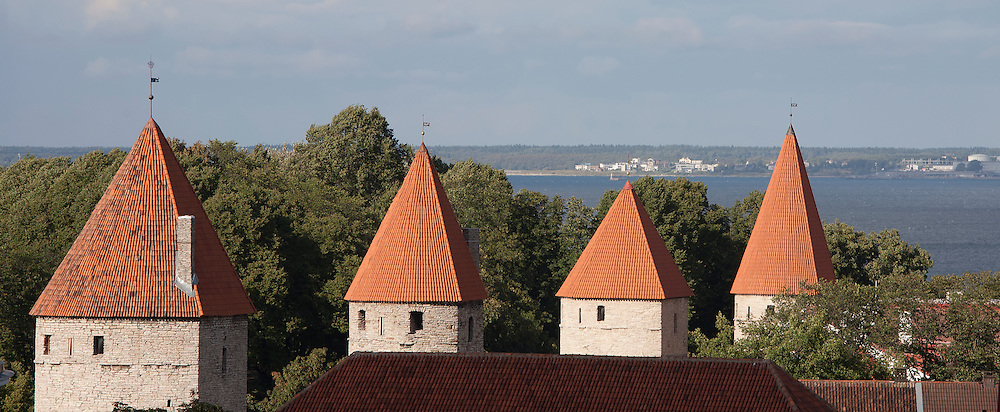 Towers of Old Medieval Tallinn Town Wall From Kohtuotsa Viewing Platform, Estonia