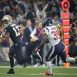 Sep 9, 2019; New Orleans, LA, USA; New Orleans Saints wide receiver Michael Thomas (13) runs past Houston Texans free safety Tashaun Gipson (39) during the first quarter at the Mercedes-Benz Superdome. Mandatory Credit: Derick E. Hingle-USA TODAY Sports