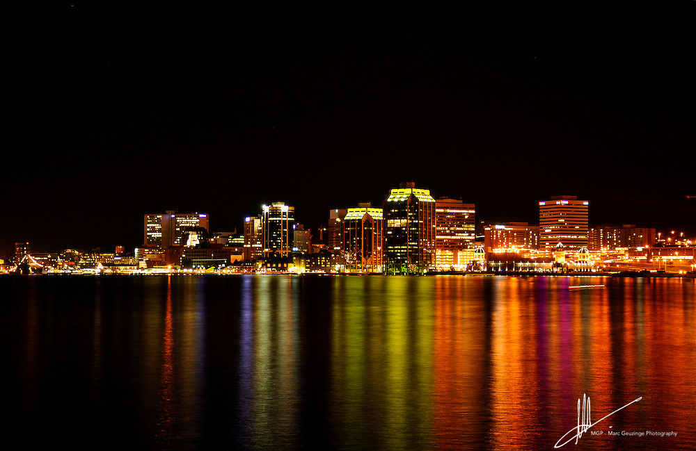 Halifax skyline at night photographed during the 2012 Natal Day celebrations in Halifax and Dartmouth, Nova Scotia, Canada