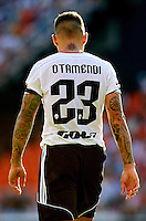 VALENCIA, SPAIN - OCTOBER 04:  Nicolas Otamendi of Valencia walks on the pitch during the La Liga match between Valencia CF and Club Atletico de Madrid at Estadi de Mestalla on October 4, 2014 in Valencia, Spain.  (Photo by Manuel Queimadelos Alonso/Getty Images)