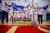 The Folsom Bulldogs Varsity Girls Varsity basketball team celebrates their 80-43 win over the Cosumnes Oaks Wolfpack to win the SFL championship, Tuesday Feb 27, 2018.  <br /> photo by Brian Baer