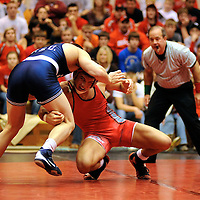 Colt Sponseller (OSU) vs. No. 8 Dan Vallimont (PSU).Period 1: PSU take down (0-2) ... OSU escape (1-2). Period 2: (Sponseller down) OSU escape (2-2) ... PSU stalling warning. Period 3: (Vallimont down) PSU stalling (3-2) ... OSU bonus point for riding time (1:34) for a 4-2 win.