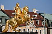 goldener Reiter, Dresden, Sachsen, Deutschland.|.golden equestrian statue, Neustadt, Dresden, Germany
