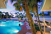 Kauai, Marriott, Resort,  Swimming Pool, Reflections, Architecture, Columns, Dusk, Lihue, Kauai, Hawaii, USA