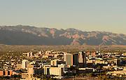 Tucson, Arizona, USA, with the Santa Catalina Mountains in the Coronado National Forest, Sonoran Desert.  The University of Arizona is beyond downtown Tucson.