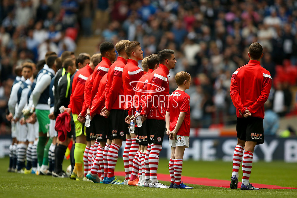 Teams line up for the presentation party during the Sky Bet League 1 play off final match between Barnsley and Millwall at Wembley Stadium, London, England on 29 May 2016. Photo by Simon Davies.