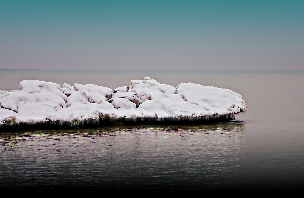 An island of ice in the Beaches waterfront, Toronto Canada