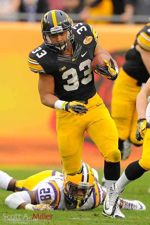 Iowa Hawkeyes running back Jordan Canzeri (33) during the LSU Tigers 21-14 win over the Hawkeyes in the 2014 Outback Bowl at Raymond James Stadium January 1, 2014 in Tampa, Florida.      <br /> <br />  &copy; 2014 Scott A. Miller