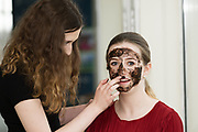 15/03/2018  Repro FREE:   Molly Nic Phaid&iacute;n masking Kate N&iacute; Cnaimhs&iacute; who went all out for the team BOUE  presentation to the judges and demonstrated BOUE, Face masks produced from peat moss. <br /> The  Pupils from Pobalscoil Ghaoth Dobhair Co Donegal have been named Winners of the &Uacute;dar&aacute;s na Gaeltachta Cl&aacute;r Comhlachta 2018, a hands-on business learning experience run in partnership with Junior Achievement Ireland (JAI). Cl&aacute;r Comhlachta is taught through the Irish language to students attending schools in the Gaeltacht regions of Cork, Galway, Donegal, Kerry, Mayo, Meath &amp; Waterford. This year more than 750 Transition Year students have created, operated and managed their own companies with the support of local business volunteers.&rdquo;<br />    Photo:Andrew Downes, XPOSURE .