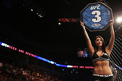 August 9, 2008; Minneapolis, MN, USA;  UFC Octagon Girl, Arianny shows it's round 3 during the fights at the Target Center in Minneapolis, MN at UFC 87: Seek and Destroy.