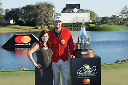 Arnold Palmer Invitational Champion 2017 Marc Leishman and Wife Audrey Hills after the Final Round of the The Arnold Palmer Invitational Championship 2017, Bay Hill, Orlando,  Florida, USA. 19/03/2017.<br /> Picture: PLPA/ Mark Davison<br /> <br /> <br /> All photo usage must carry mandatory copyright credit (&copy; PLPA | Mark Davison)