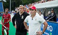 ANTWERP -   Disappointed Jeroen Delmee (r) , coach of  Belgium  during the final Australia vs Belgium (1-0). left  WSP COPYRIGHT KOEN SUYK