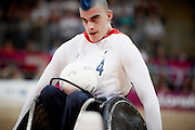 David Anthony of Great Britain in the Wheelchair Rugby Mixed Pool Phase of Group A,.USA 56 - 44 GBR at the Basketball arena on day 7 of the London 2012 Paralympic Games. 6th September 2012.