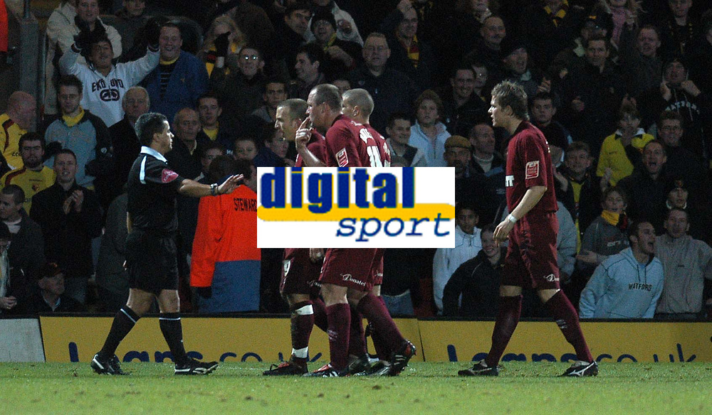 Photo: Alan Crowhurst.<br />Watford v Brighton & Hove Albion. Coca Cola Championship. 03/12/2005. <br />Brighton players protest to referee Ray Olivier after he gave a penalty to Watford.
