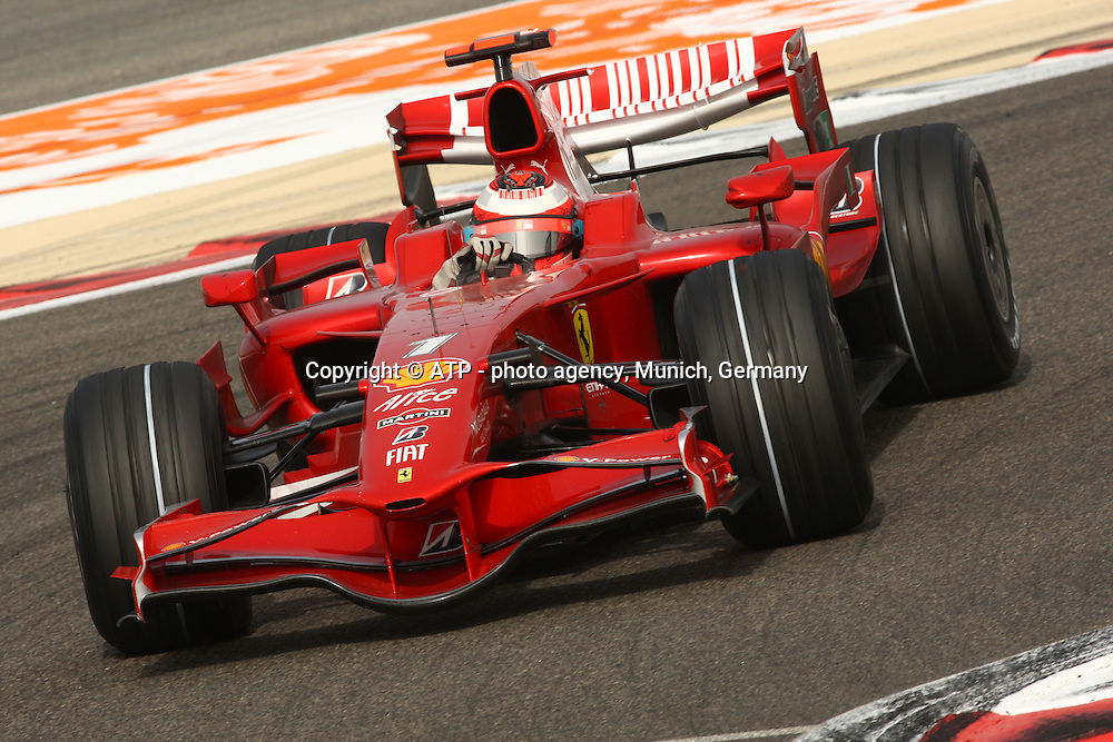 Kimi Raikkonen, Ferrari. Formula One Grand Prix. Shakir Circuit, Bahrain. 6 March 2008. Photo: ATP/PHOTOSPORT
