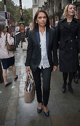 © Licensed to London News Pictures. 13/10/2016. London, UK. Gina Miller arrives at the High Court. Ms Miller and other campaigners are launching a legal challenge, after the EU referendum result, to force the government to seek Parliamentary approval before Brexit negotiations begin. Photo credit: Peter Macdiarmid/LNP
