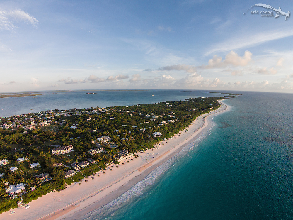 An aerial view of Pink Sands Beach on Harbour Island, N. Eleuthera, Bahamas.