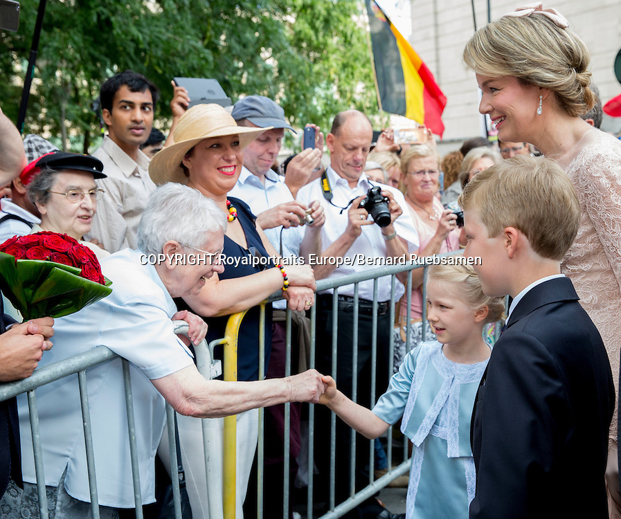 Brussels, 21-07-2016 <br /> <br /> National Day of Belgium celebrations.<br /> King Filip and Queen Mathilde and their children attend Te Deum at the Cathedral of Brussels.<br /> <br /> COPYRIGHT:ROYALPORTRAITS EUROPE/BERNARD RUEBSAMEN